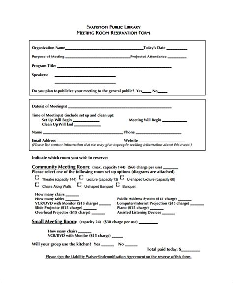 10 Sle Reservation Forms Sle Templates Hotel Meeting Room Contract Template