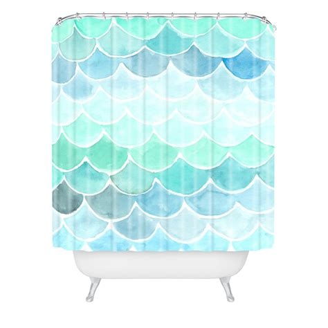 Mermaid scales woven shower curtain wonder forest