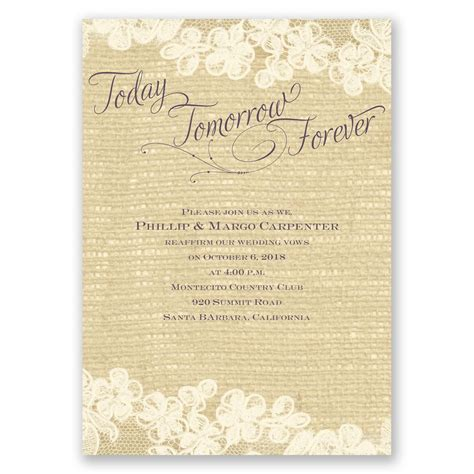 Wording Of Wedding Renewal Invitations by Lace Finish Vow Renewal Invitation Invitations By