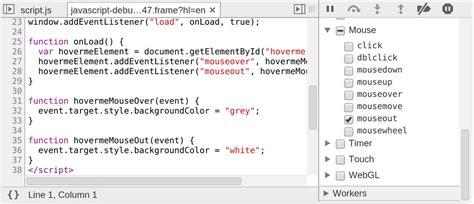 javascript tutorial event listener debugging javascript google chrome