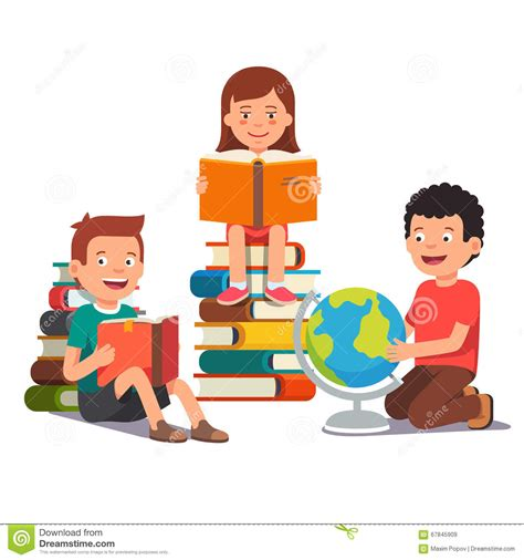 clipart bimbi of studying and learning together stock vector