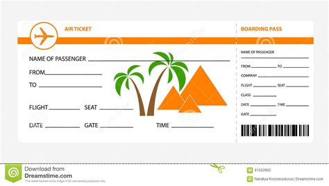free printable airline ticket template for gift boarding pass egypt stock vector image 61502862