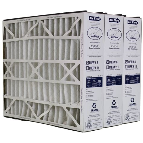 trion air 255649 102 3 pack pleated furnace air filter 20 quot x25 quot x5 quot merv 8