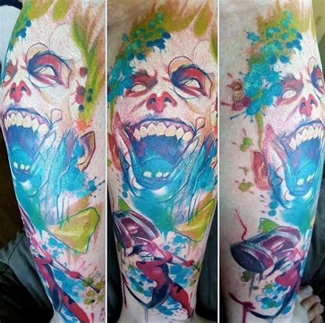 watercolor harley quinn tattoo 90 joker tattoos for iconic villain design ideas