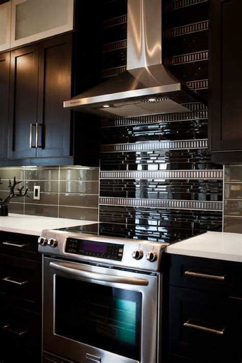 black glass tiles for kitchen backsplashes black glass