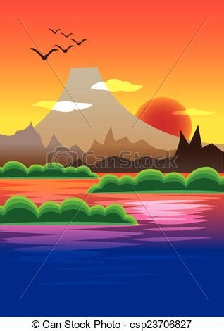 Tuscan Home Plans picturesque sunset behind volcano mountain vector