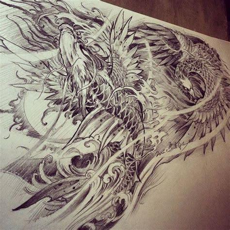 phoenix koi tattoo chronic ink tattoo toronto tattoo phoenix and dragon koi