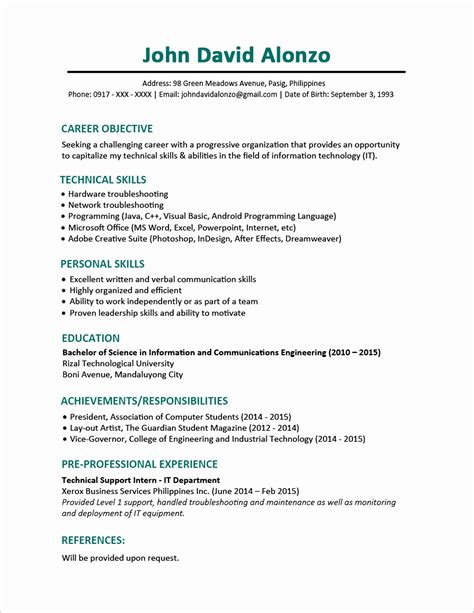 resume format for bpo 11 unique resume format for bpo for freshers resume sle ideas resume sle ideas
