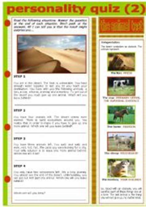 printable animal personality test printable animal personality quiz english teaching