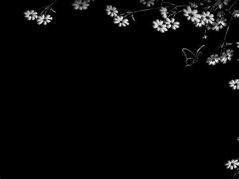 black powerpoint template flowers and butterflies black frame free ppt backgrounds