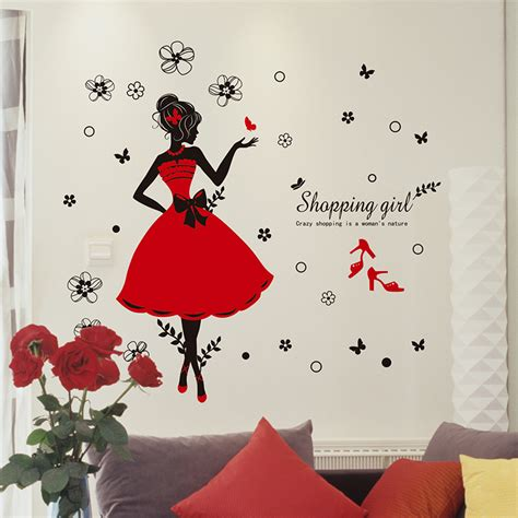 wall decor stickers shopping shopping wall stickers shop decor pvc skirt
