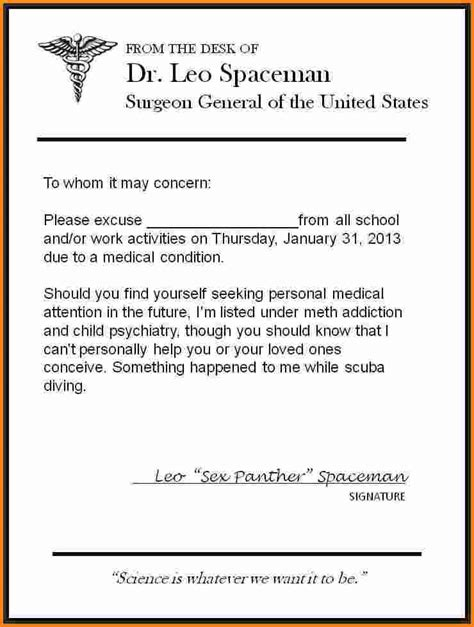 Letter For Work From Doctor 11 Doctors Excuse For Work Cashier Resume