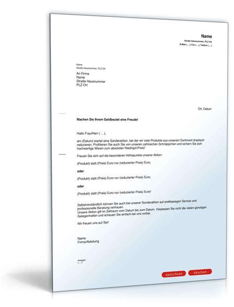 Musterbriefe Unternehmen Werbebrief F 252 R Sonderangebote Muster Vorlage Zum