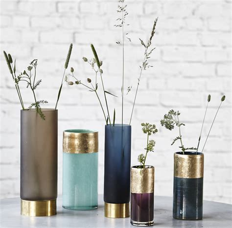 Gold Coloured Vases Coloured Glass And Gold Vase By All Things Brighton