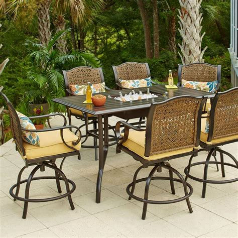 outdoor patio dining set hton bay vichy springs 7 patio high dining set