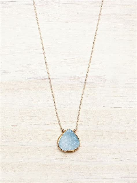 baby blue druzy teardrop necklace lunessa