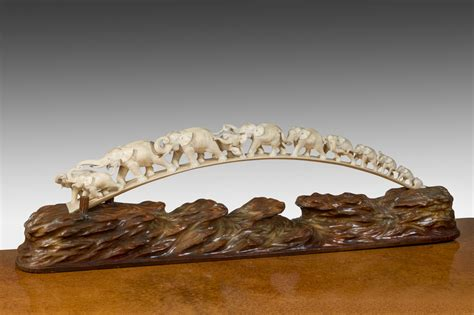 ivory value a japanese ivory tusk carving of a of elephants c