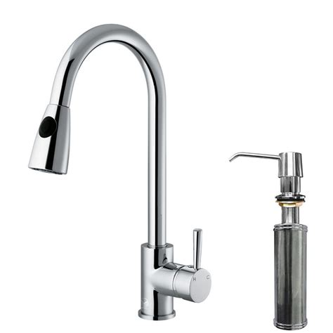 Kitchen Faucets With Soap Dispenser Vigo Single Handle Pull Out Sprayer Kitchen Faucet With Soap Dispenser In Chrome Vg02005chk2