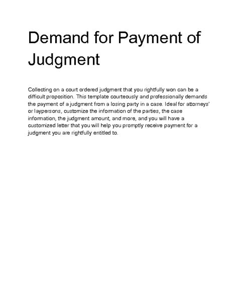 Demand Letter For Judgment Payment Welcome To Docs 4 Sale