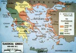 Classical Greece Map by Peloponnesian War Crystalinks