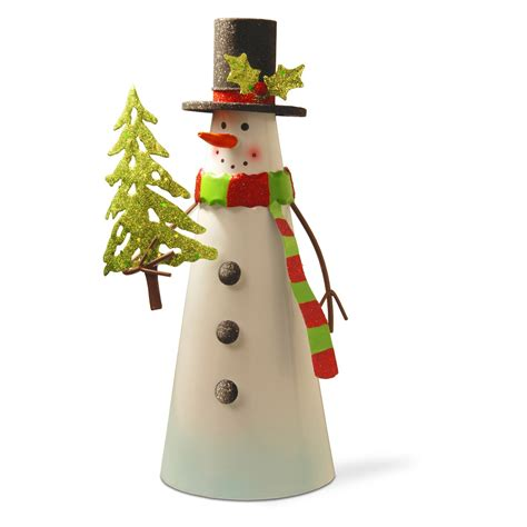 home decor holding company national tree company white wire snowman holding tree