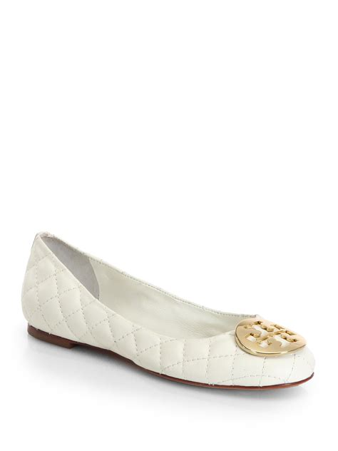 Quilted Burch Flats burch quinn quilted leather ballet flats in white ivory lyst