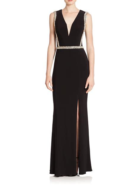black bead dress lyst basix black label beaded column dress in black