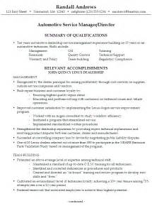 Auto Mechanic Resume Exles by Resume Automotive Service Manager Director