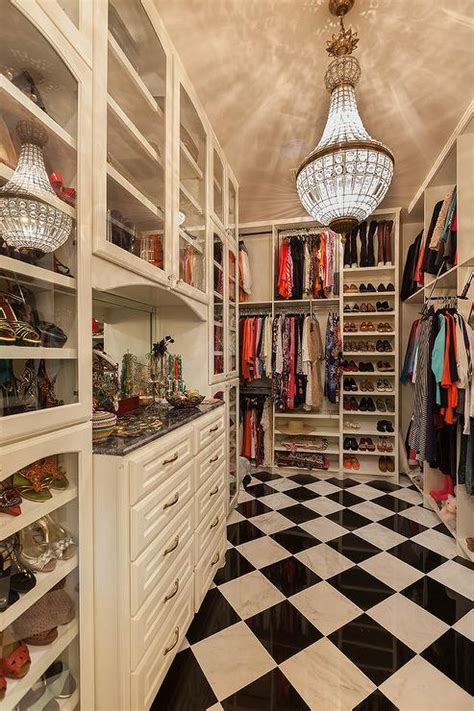 Walk In Closet with Black and White Harlequin Tiled Floor