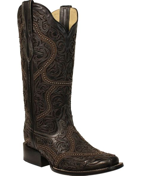 corral s black overlay studs boots