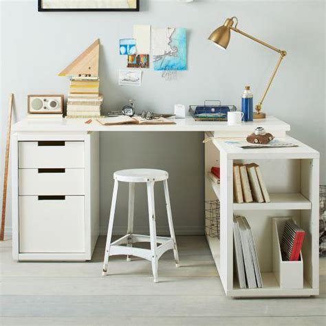 West Elm Office Desk Modular Office L Shaped Desk Set White West Elm