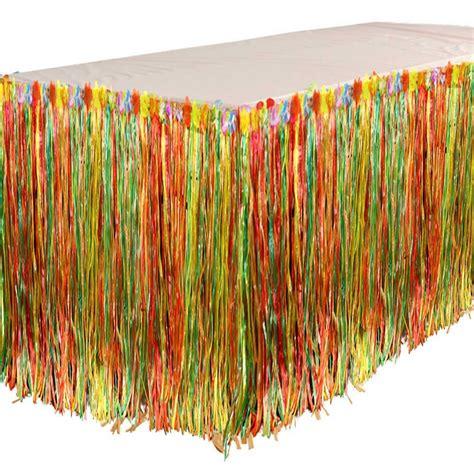 hawaiian grass table skirt multi colour tropical