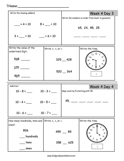 Second Grade Worksheets by Free 2nd Grade Daily Math Worksheets