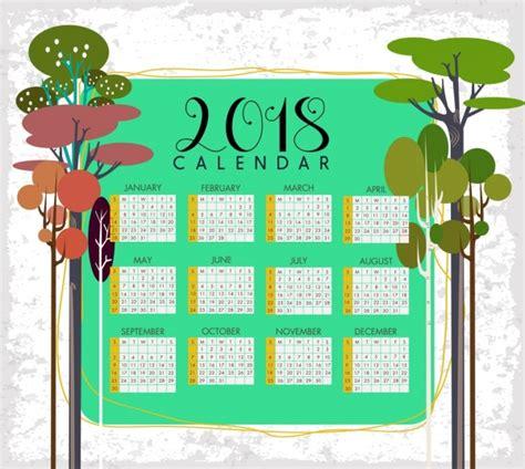 adobe illustrator calendar template 2018 free 2018 calendar template tree icons decoration free vector