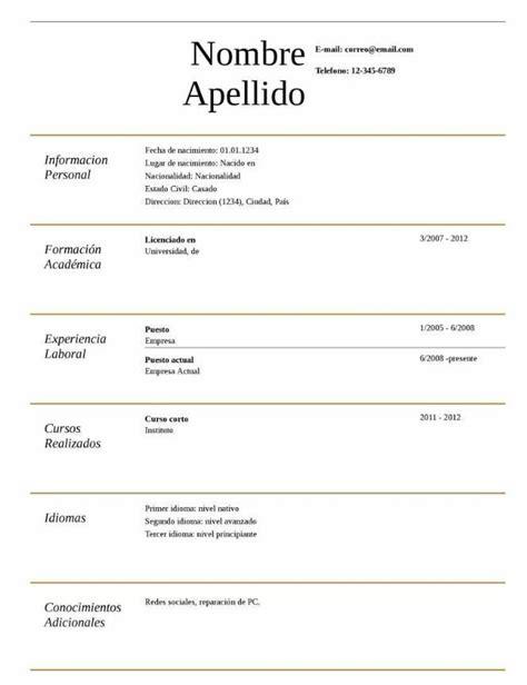 Plantilla De Curriculum Vitae Para Rellenar En Ingles modelo de curriculum vitae para llenar e imprimir modelo