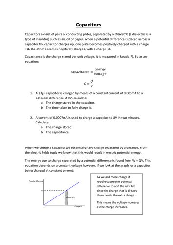 ocr physics capacitors notes monkey and a level physics resources teaching resources tes