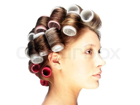 Hair Curlers For Hair by Side View Of A With Hair Curlers Stock Photo