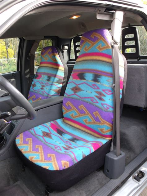 aztec print car seat covers 1 set of seat cover and steering wheel cover purple turquoise