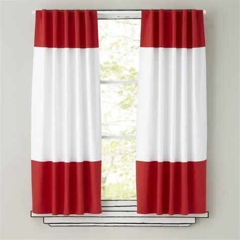 kids curtains red  white curtain panels  land  nod