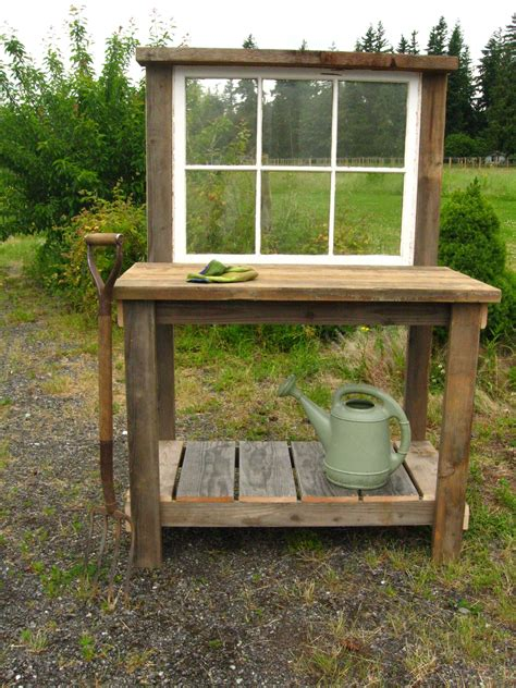 garden potting bench rustic potting bench with an old window 130 dream