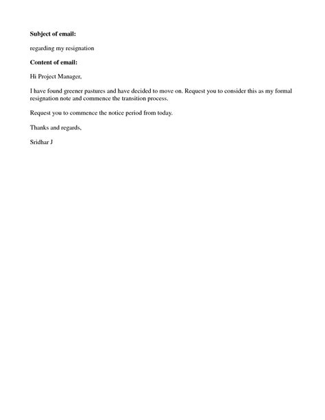 resignation letter format simple ideas resignation letter