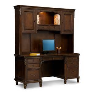 Desk And Credenza Home Office Ashland Credenza Desk With Hutch Cherry American Signature Furniture