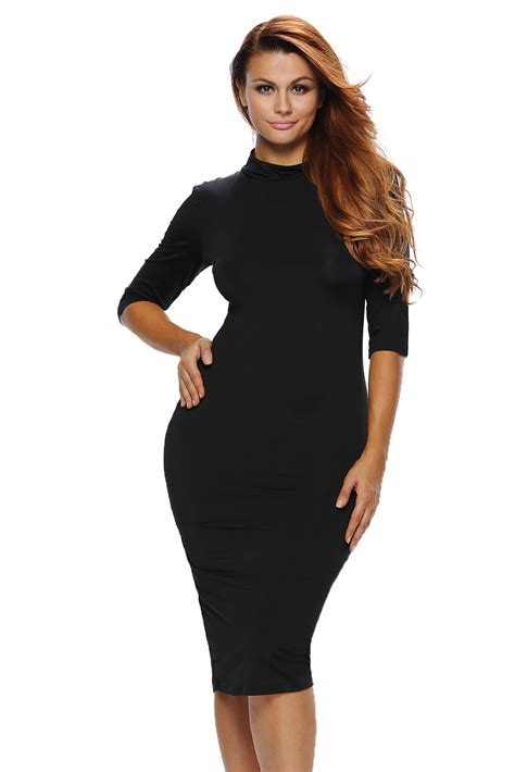 bodycon mock neck o ring accent cut out half sleeve
