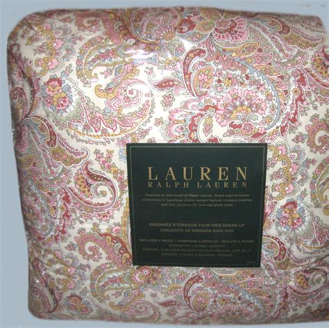 discontinued ralph lauren paisley bedding ralph lauren king bedding set 4pcs pretty paisley pink red