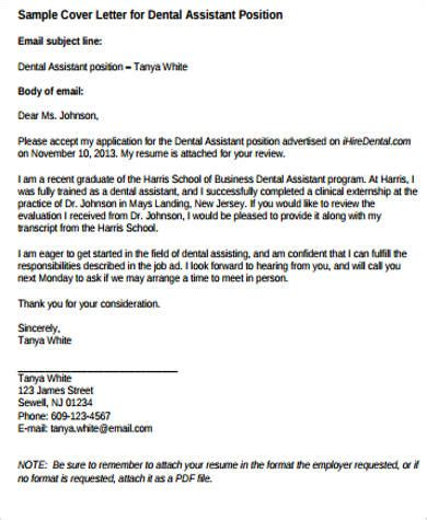 Cover Letters For Dental Assistant by Sle Dental Assistant Cover Letter 9 Exles In Word Pdf