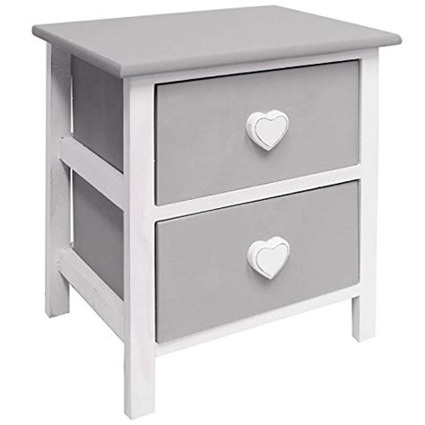 White And Grey Bedside Cabinet Buy Hartleys White Grey 2 Drawer Bedside Cabinet