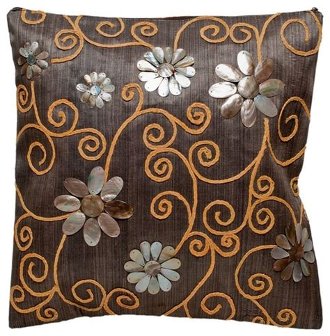 decorative pillow cover with brownlip seashell and raffia