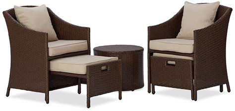 5pc Patio Set Table Chairs Ottomans Rattan Weather Patio Chairs With Ottomans