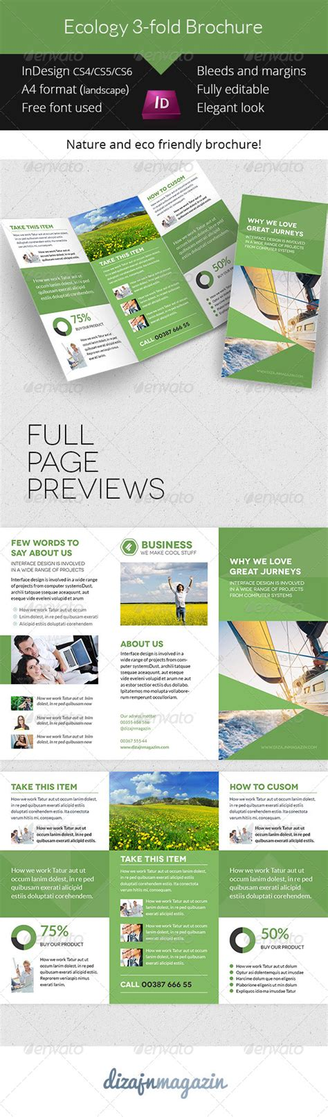 informational brochure templates ecology trifold brochure indesign template graphicriver