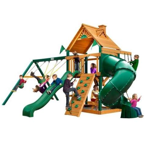 swing set accessories home depot gorilla playsets mountaineer with timber shield cedar